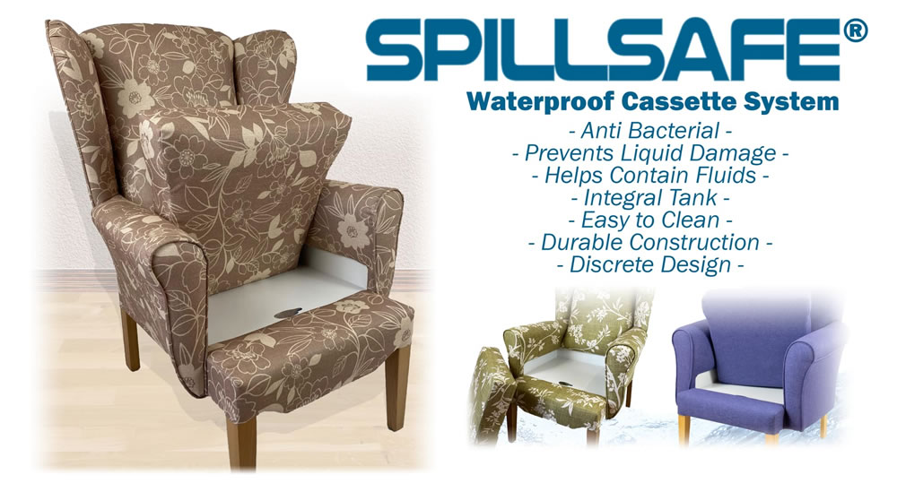 Spillsafe Queen Anne Chairs for nursing homes